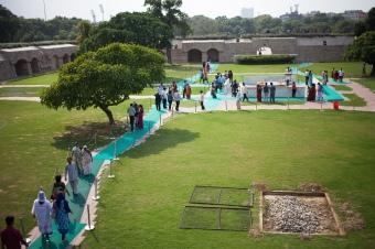 The Raj Ghat shrine at the Gandhi Memorial Park in New Delhi.